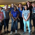 Departing for a 2-week accredited service-learning program to work with the Deaf community in Bahir Dar, Ethiopia.  L to R: Katie Capulli, Kalie Hagen, Maria Gillin, Jada Quinlan, Cathryn Brown, DeeYan McCarthy, Alexa Venezia, Rebecca Swenson