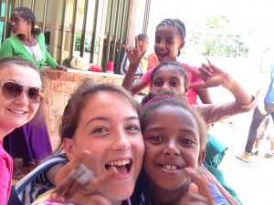 Katie Capulli and students in Ethiopia