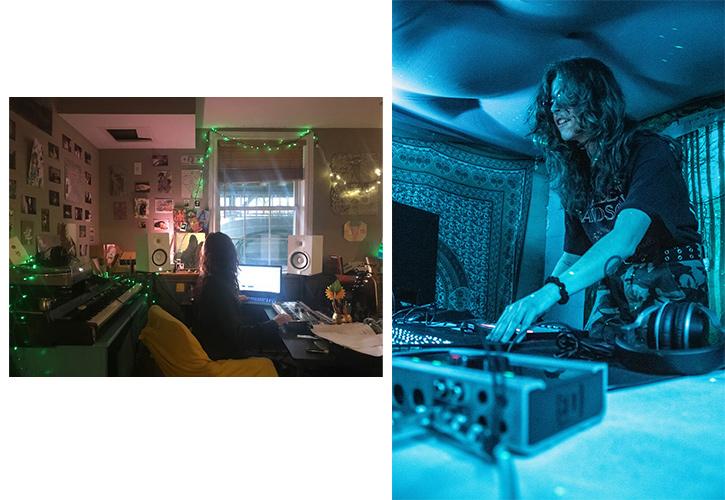 Left: Senior Nic Prestia makes experimental music in quarantine. Right: Prestia DJs during simpler times.