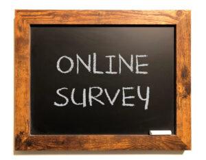 Online Survey written on a chalk board