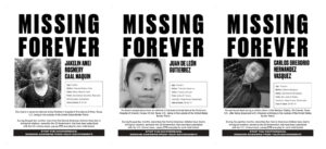 Triptych of Missing Forever posters by Regina José Galindo
