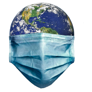 Image of Earth wearing medical face mask