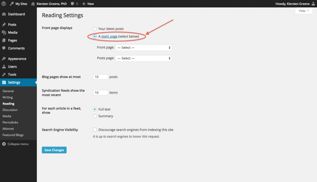 Reading Settings page with sections Front page Display, options Your latest posts or A Static page, circled.