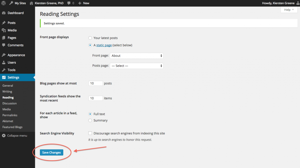 Reading Settings page, bottom Save Changes button, circled