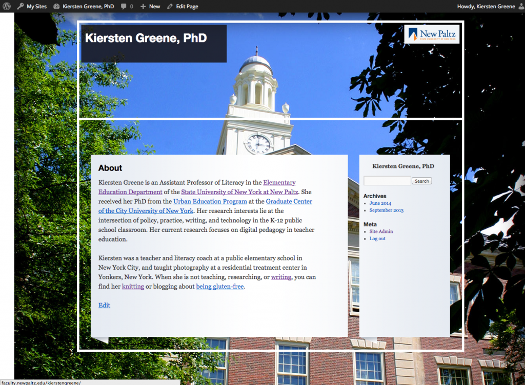 Example of Published website