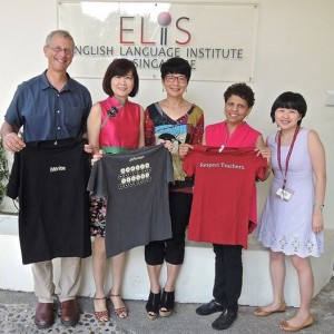 Tom Meyer visits Singapore English Language Institute to support the building of a Writing Project and Invitational Institute. Pictured are Wai Yin Pryke (principal), Tay May Yin (principal master teacher), Vara Durai (master teacher), and Genevieve Wong (subject literacy officer).