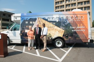 Gail Gallerie,chair of the New Paltz Transportation Implementation Committee; SUNY New Paltz President Donald P. Christian; and Osato Okundaye, president of the New Paltz Student Association.