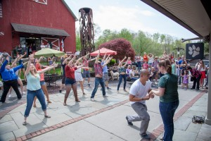 Amanda's fiancee, Paul, contacted the SUNY New Paltz Epic-Glee Club to organize a flash mob proposal at Water Street Market this past May.