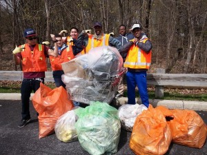 Akeem (third from right) participating in the New Paltz Clean Sweep with the Educational Opportunity Program's Men Valuing Professionalism club