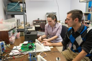 Hudson Valley Technology Development Center interns Kim Eagleston '15 and Adam Secovnie '15 are both electrical engineering majors at SUNY New Paltz.