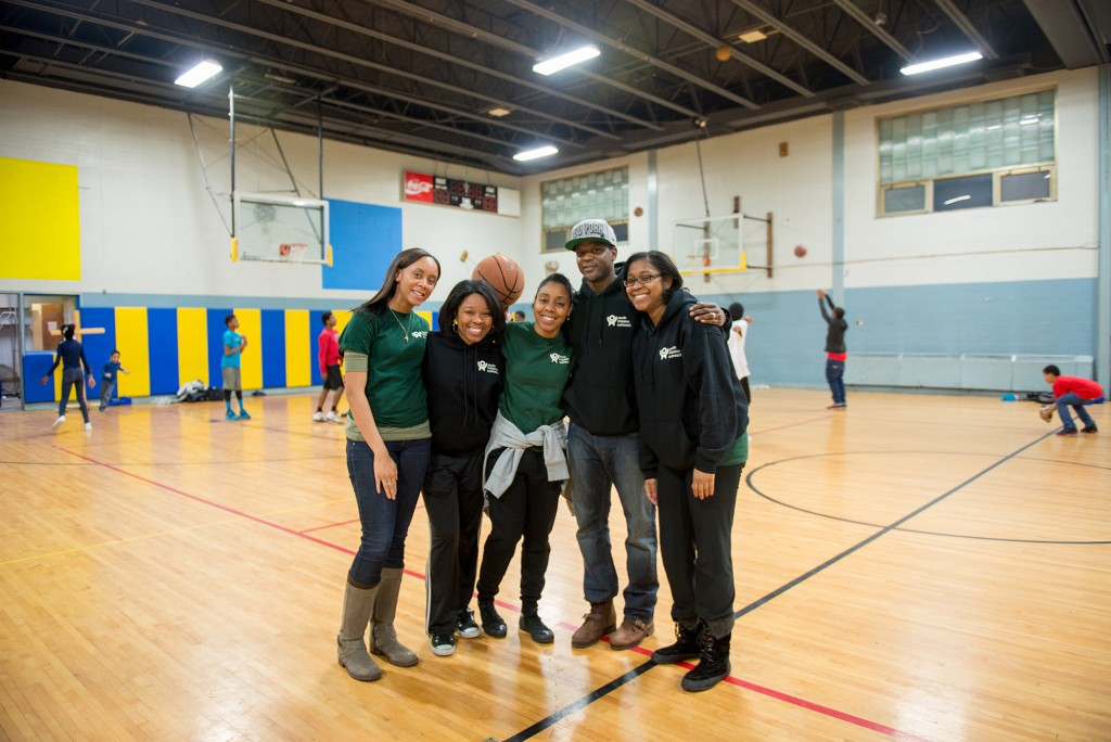 Nasarima Foster '09 (English), La'Ema Vanterpool '07 (Psychology/Black Studies), Michelle Dancey '07 (Anthropology), Terrance Dancey '06 (English), and Arlene Dyer '05 (Elementary Education) 'XXg (Special Education) running Youth Mission Outreach's weekly Youth Night program in Poughkeepsie on a recent Friday night.