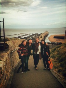 Monica with friends in Scotland