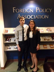 Monica at her internship at the Foreign Policy Association in New York City with classmate Gregory Blitstein