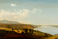 Jervis McEntee View on the Hudson Near the Rondout, n.d. Oil on canvas 25 x 50 in. Collection of Richard Sharp