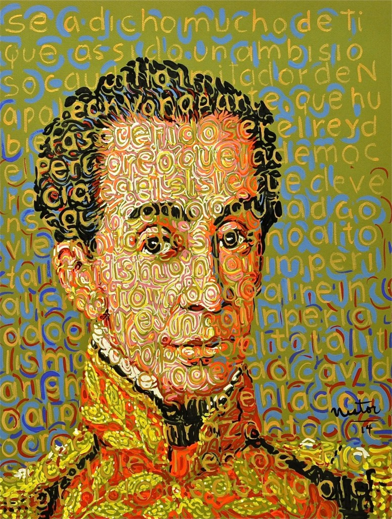 Nestor Madalengoitia (b. Peru, 1959) Simon Bolivar—Hero 2, 2015 Acrylic on paper, 22 x 18 in.