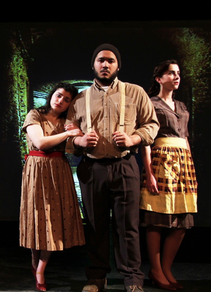 Cast: (l-r) Ciarra Fragale ('18) as Catherine, Andres Rodriquez ('18) as Eddie, Olivia Whalen-Ripp ('18) as Beatrice
