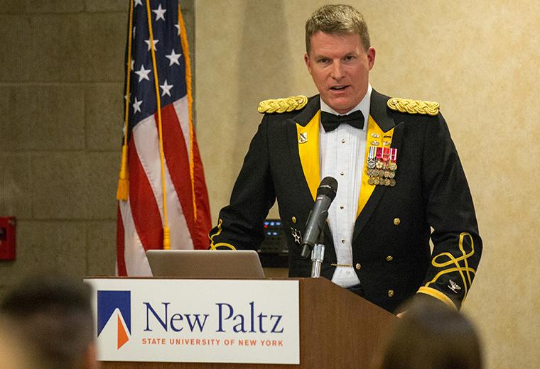 Col. Davidson at SUNY New Paltz's Veterans Day Dining In ceremony, Nov. 2015
