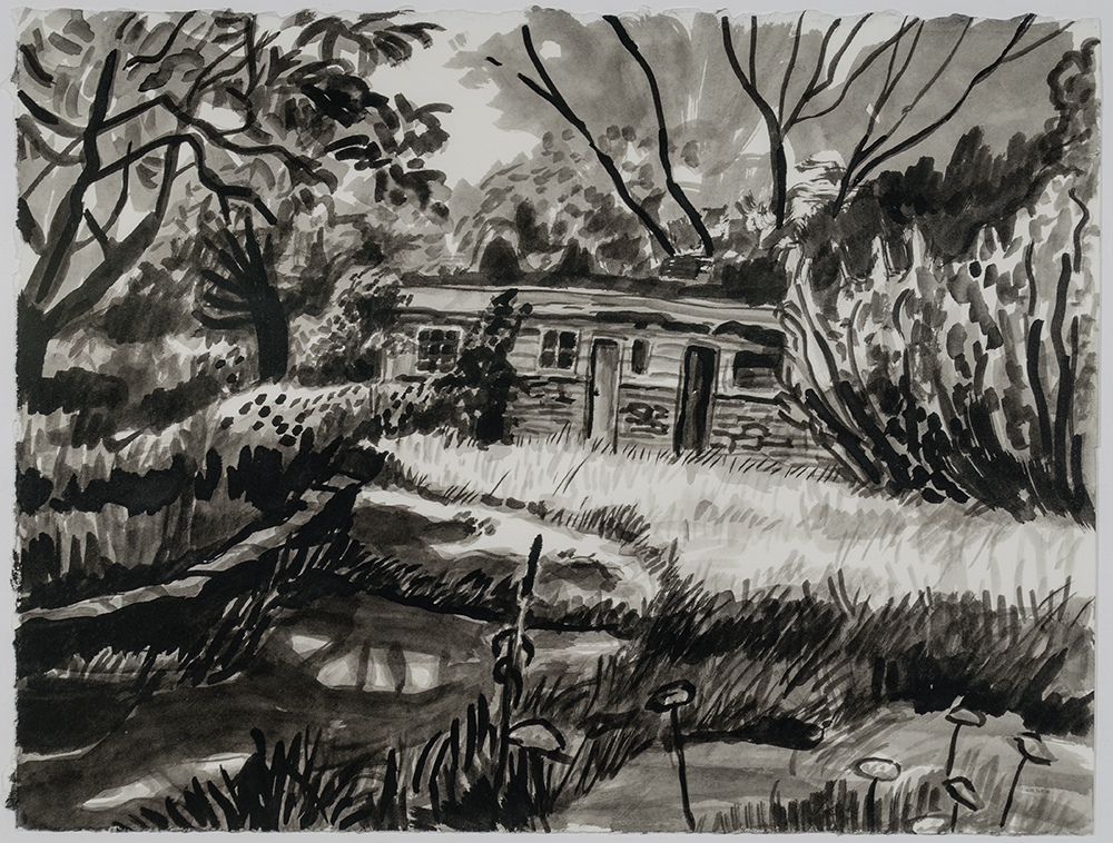 Beaver Lake House–Old Dormitories, 2013 Ink on paper, 11 x 14 in.