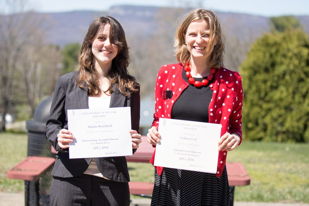 Berardicelli (l), with Designer and mentor Colleen Cody, at the spring 2016 Internship Recognition Ceremony