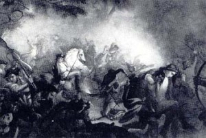 An artist's view of Arnold in the thick of the battle at Saratoga