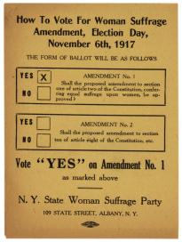 women win the right to vote in new york state new york rediscovered 1917 ballot