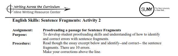 sentence skill development essay