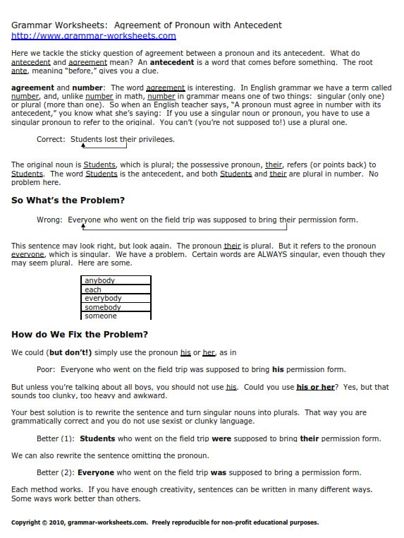 noun pronoun agreement worksheets. Black Bedroom Furniture Sets. Home Design Ideas
