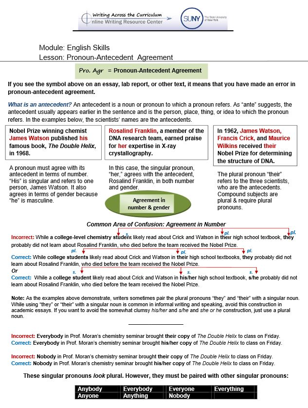 English Skills – Pronoun Antecedent Worksheet
