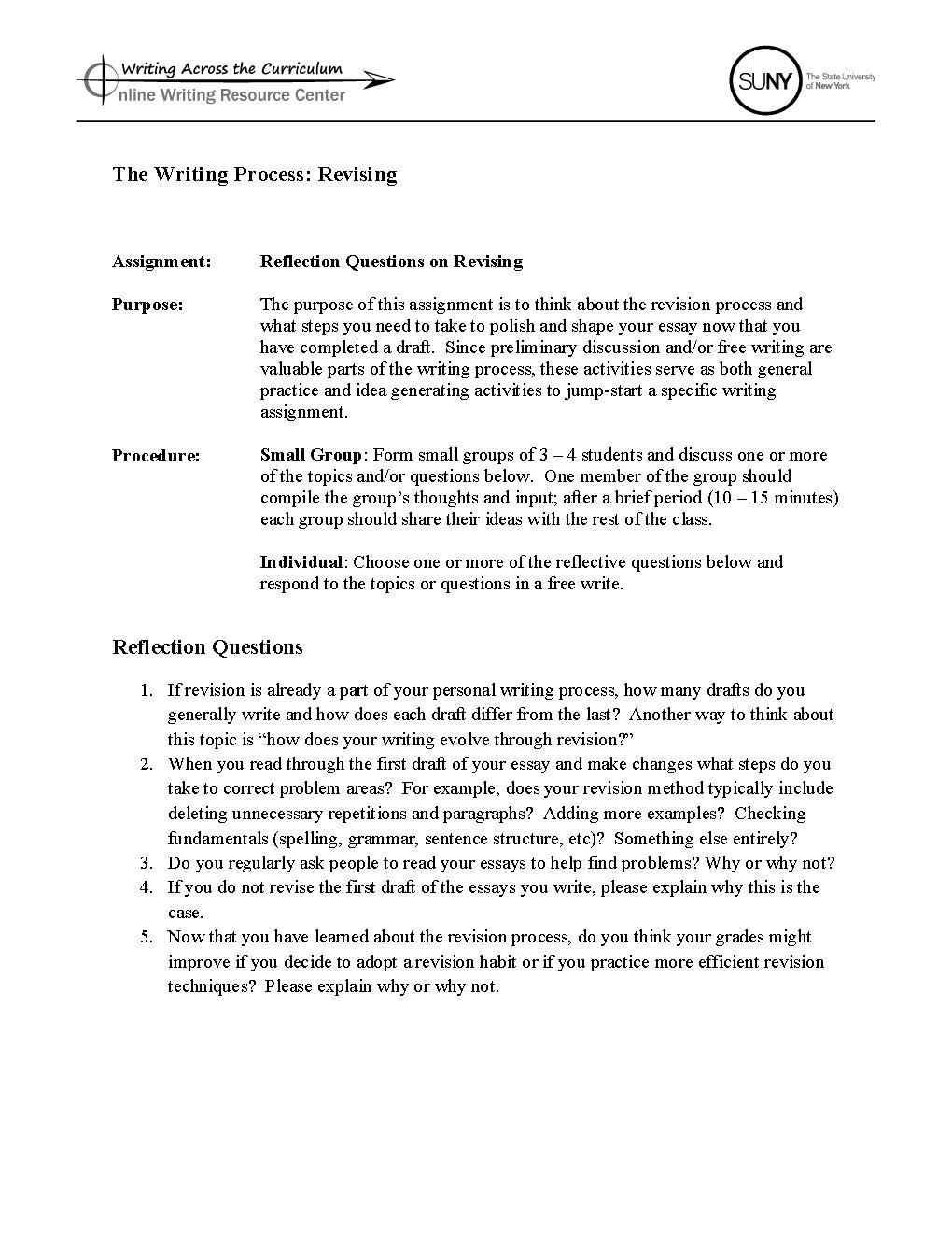 revising writing process The purdue university online writing lab serves writers from around the  days between writing and revising to get a fresh look  process the writing process .
