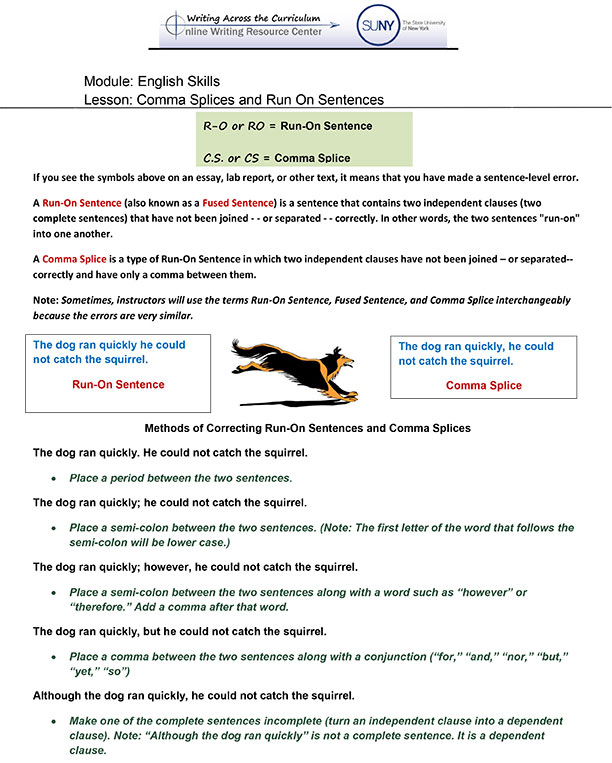 English Skills Online Writing Resource Center Across The. Handoutlesson1masplices. Worksheet. Dangling Modifier Worksheet At Mspartners.co