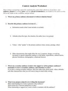 Context Analysis Worksheet PHOTO