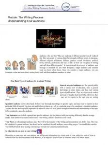 Understanding Your Audience Handout Photo