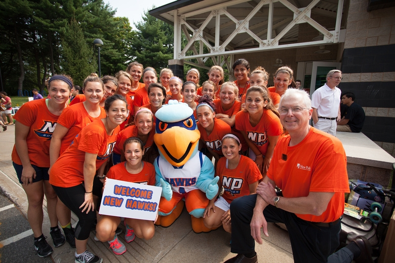 President Christian with Students on Move In Day