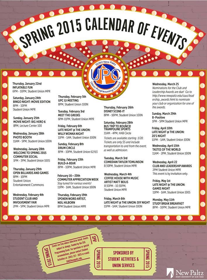 Spring 2015 Calendar of Events