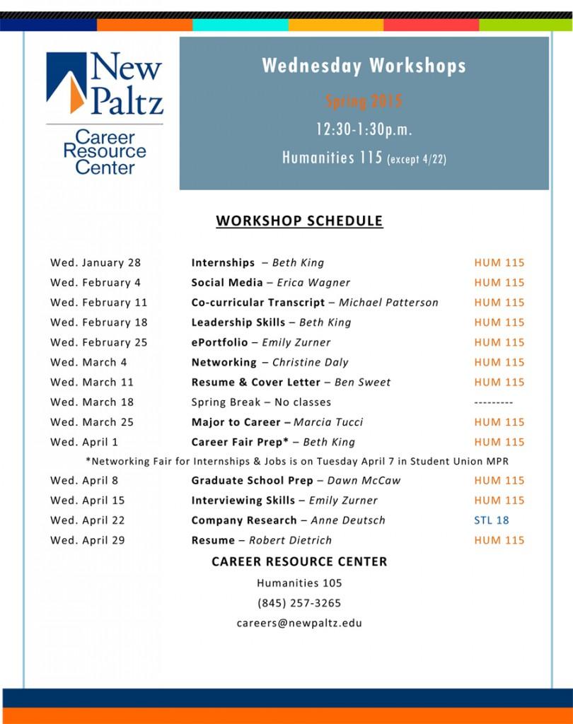Wednesday Workshops - Spring 2015