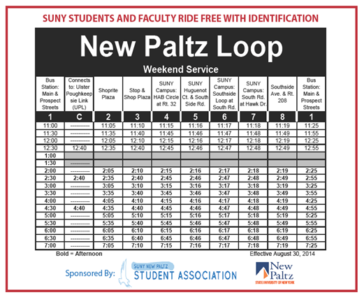 New Paltz Loop Weekend Services