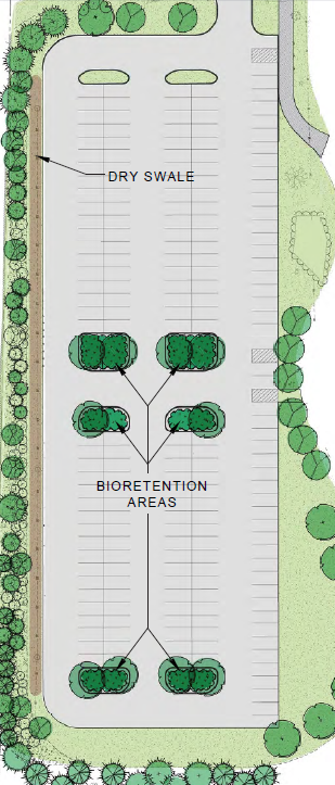 Color Drawing of Bioretention area and dry swale