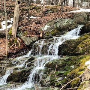 Mini-waterfall of winter transitioning to spring on the Rail Trail Captured by Zameena Mejia